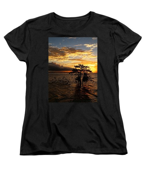 Cypress Sunset Women's T-Shirt (Standard Cut) by Judy Vincent