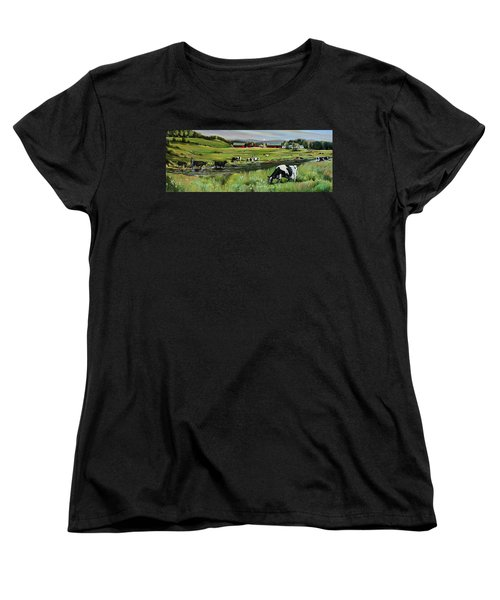 Women's T-Shirt (Standard Cut) featuring the painting Dairy Farm Dream by Nancy Griswold