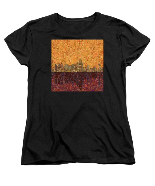 Dallas Skyline Abstract Women's T-Shirt (Standard Cut) by Bekim Art