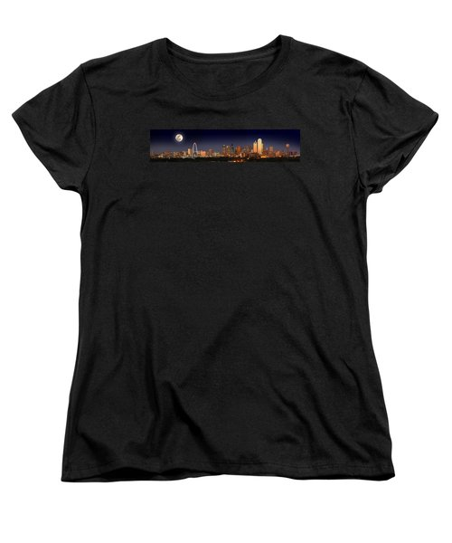 Dallas Skyline At Dusk Big Moon Night  Women's T-Shirt (Standard Cut) by Jon Holiday