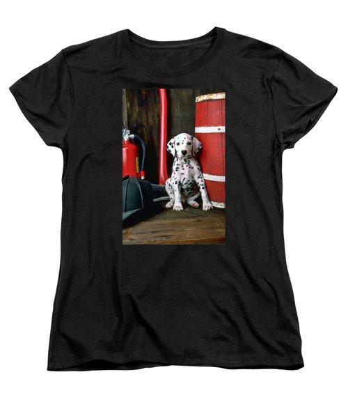 Dalmatian Puppy With Fireman's Helmet  Women's T-Shirt (Standard Cut) by Garry Gay