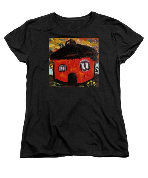 Women's T-Shirt (Standard Cut) featuring the painting Dandelions By Red Barn By Mcw by Mary Carol Williams