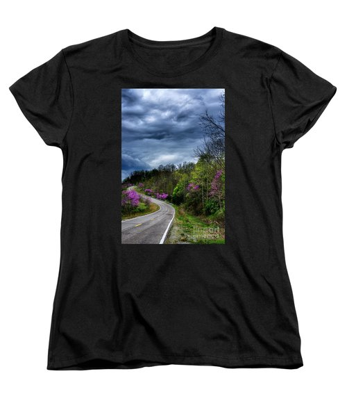 Women's T-Shirt (Standard Cut) featuring the photograph Dark Clouds Over Redbud Highway by Thomas R Fletcher