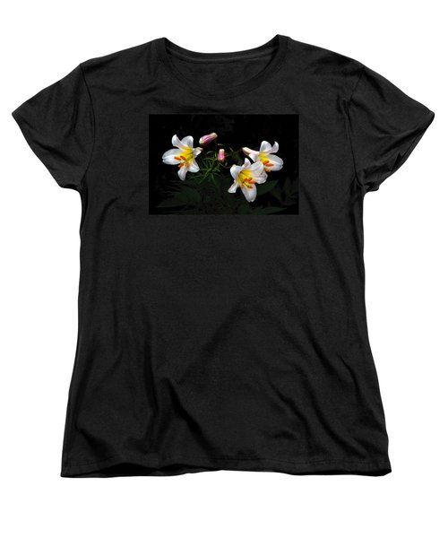Women's T-Shirt (Standard Cut) featuring the photograph Dark Day Bright Lilies by Byron Varvarigos