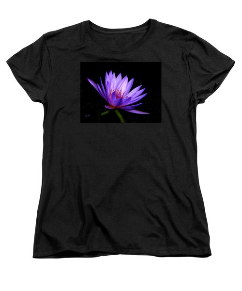Women's T-Shirt (Standard Cut) featuring the photograph Dark Side Of The Purple Water Lily by Rosalie Scanlon