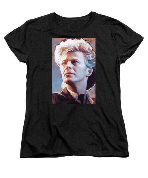 Women's T-Shirt (Standard Cut) featuring the painting David Bowie Artwork 2 by Sheraz A