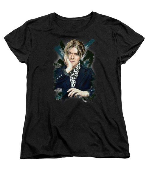David Bowie Women's T-Shirt (Standard Cut) by Melanie D