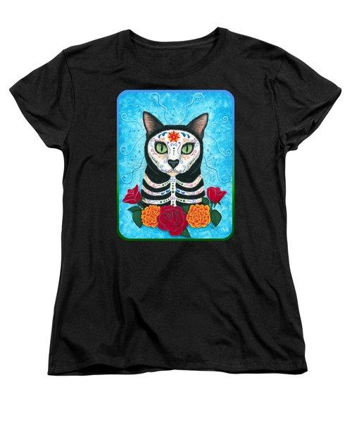 Day Of The Dead Cat - Sugar Skull Cat Women's T-Shirt (Standard Cut) by Carrie Hawks