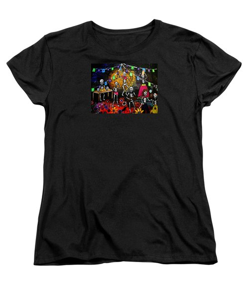 Women's T-Shirt (Standard Cut) featuring the painting Day Of The Dead Festival by Pristine Cartera Turkus