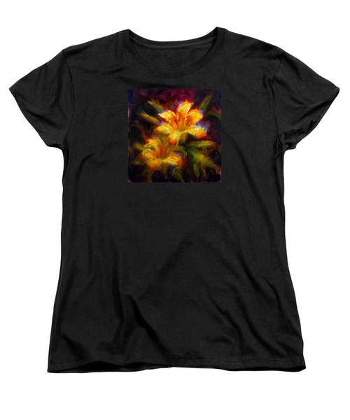 Women's T-Shirt (Standard Cut) featuring the painting Daylily Sunshine - Colorful Tiger Lily/orange Day-lily Floral Still Life  by Karen Whitworth