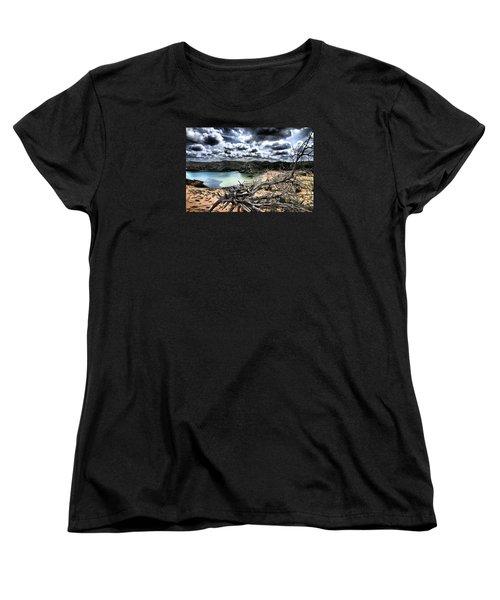 Dead Nature Under Stormy Light In Mediterranean Beach Women's T-Shirt (Standard Cut) by Pedro Cardona