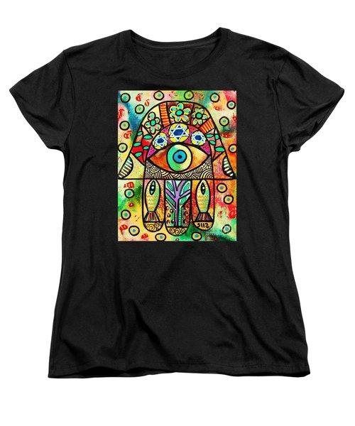 Dead Sea Fish Hamsa Women's T-Shirt (Standard Cut) by Sandra Silberzweig