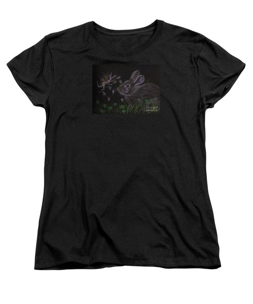 Women's T-Shirt (Standard Cut) featuring the drawing Dearest Bunny Eat The Clover And Let The Garden Be by Dawn Fairies