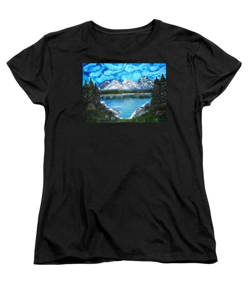 Deep Mountain Lake Women's T-Shirt (Standard Cut) by Valerie Ornstein