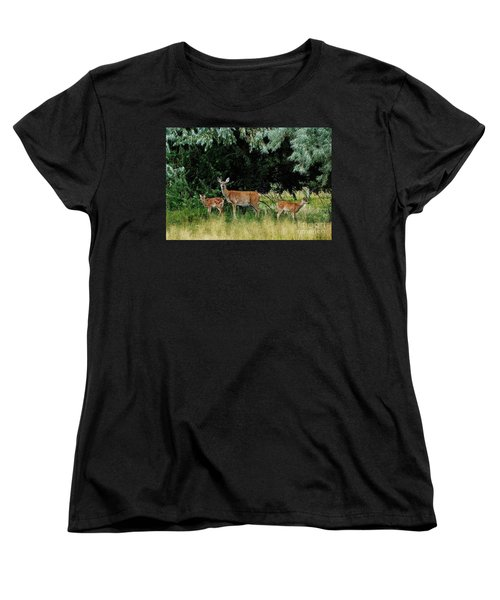 Women's T-Shirt (Standard Cut) featuring the photograph Deer Mom by Larry Campbell