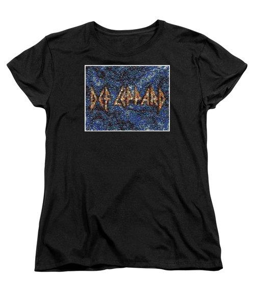Def Leppard Albums Mosaic Women's T-Shirt (Standard Cut) by Paul Van Scott