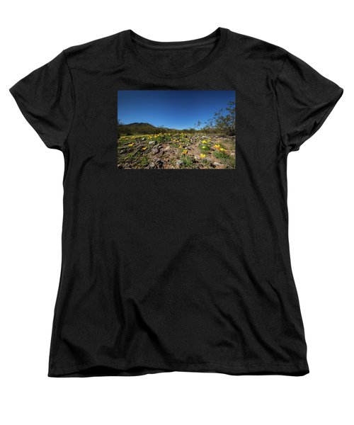 Women's T-Shirt (Standard Cut) featuring the photograph Desert Flowers In Spring by Ed Cilley
