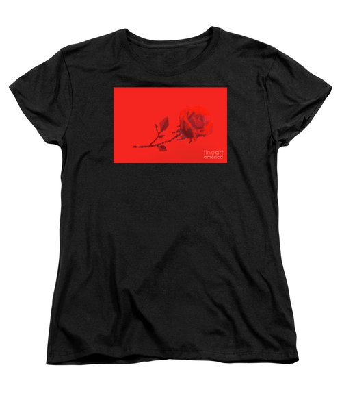 Women's T-Shirt (Standard Cut) featuring the photograph Designer Red Rose by Linda Phelps