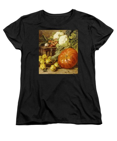 Detail Of A Still Life With A Basket, Pears, Onions, Cauliflowers, Cabbages, Garlic And A Pumpkin Women's T-Shirt (Standard Cut) by Eugene Claude