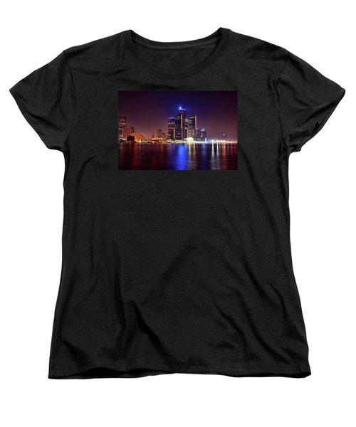Detroit Skyline 4 Women's T-Shirt (Standard Cut) by Gordon Dean II