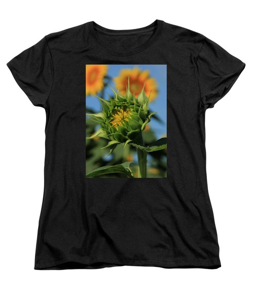 Women's T-Shirt (Standard Cut) featuring the photograph Developing Petals On A Sunflower by Chris Berry