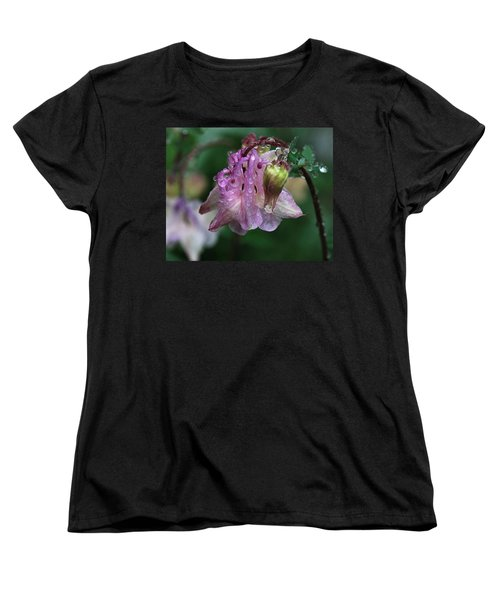 Women's T-Shirt (Standard Cut) featuring the photograph Dewey Morning Columbine by Susan Capuano