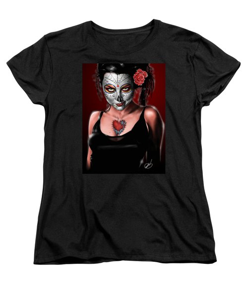 Dia De Los Muertos The Vapors Women's T-Shirt (Standard Cut) by Pete Tapang
