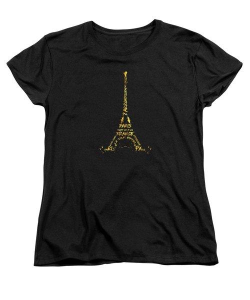 Digital-art Eiffel Tower - Black And Golden Women's T-Shirt (Standard Cut) by Melanie Viola