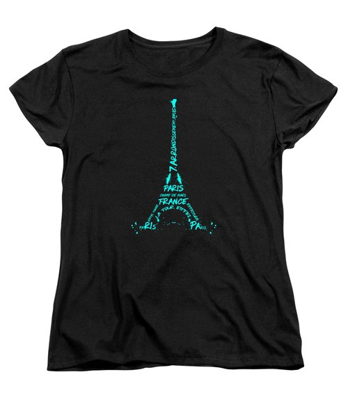 Digital-art Eiffel Tower Cyan Women's T-Shirt (Standard Cut) by Melanie Viola