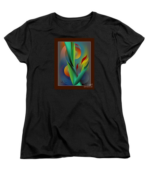 Women's T-Shirt (Standard Cut) featuring the digital art Digital Garden Dreaming by Leo Symon