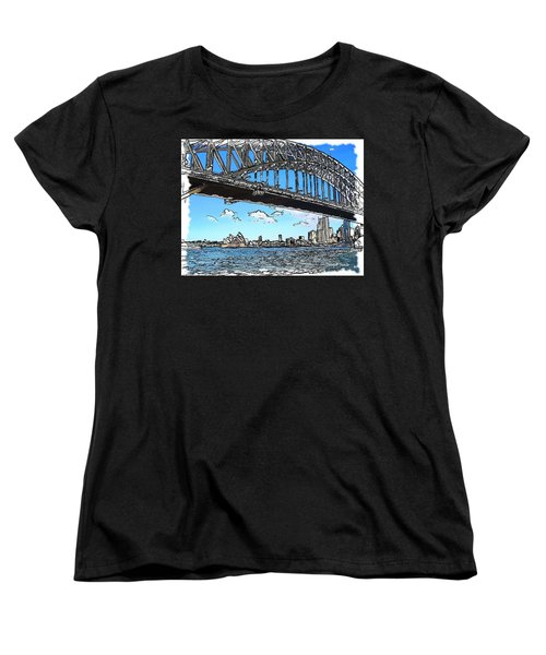 Women's T-Shirt (Standard Cut) featuring the photograph Do-00058 Sydney Harbour Bridge And Opera House by Digital Oil