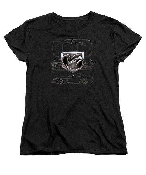 Dodge Viper  3 D  Badge Over Dodge Viper S R T 10 Silver Blueprint On Black Special Edition Women's T-Shirt (Standard Cut) by Serge Averbukh