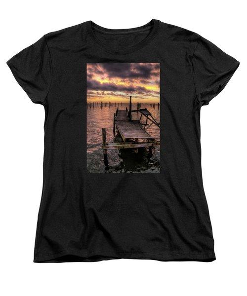 Dolphin Dock Women's T-Shirt (Standard Cut) by John Loreaux