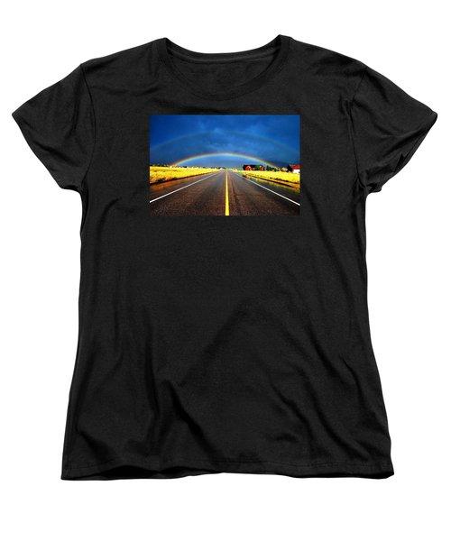 Double Rainbow Over A Road Women's T-Shirt (Standard Cut) by Matt Harang