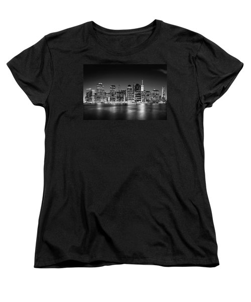 Women's T-Shirt (Standard Cut) featuring the photograph Downtown Manhattan Bw by Az Jackson