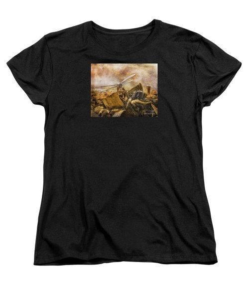 Women's T-Shirt (Standard Cut) featuring the digital art Dragonfly Dreams by Rhonda Strickland