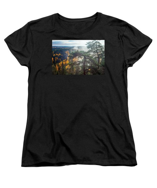 Dramatic Autumn Forest With Trees On Foreground Women's T-Shirt (Standard Cut) by Teemu Tretjakov