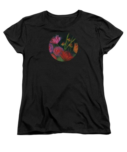 Dramatic Floral Still Life Painting Women's T-Shirt (Standard Cut) by Mary Wolf