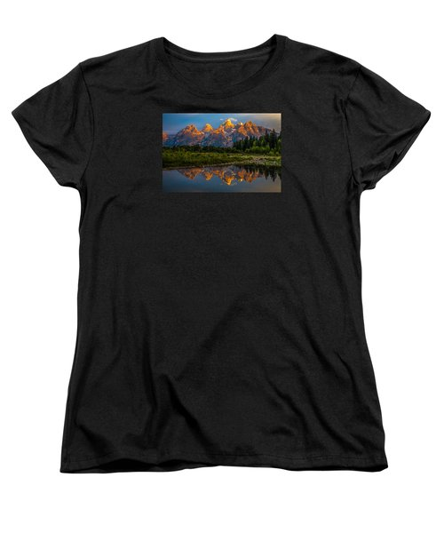 Dramatic Grand Teton Sunrise Women's T-Shirt (Standard Cut) by Serge Skiba
