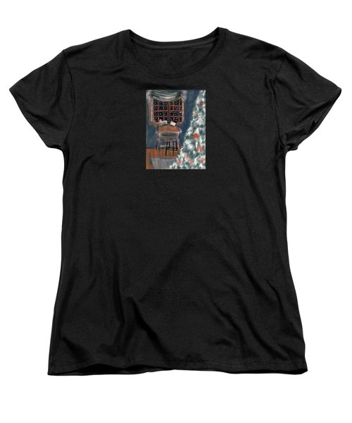 Women's T-Shirt (Standard Cut) featuring the painting Drawing Board At Christmas by Jean Pacheco Ravinski