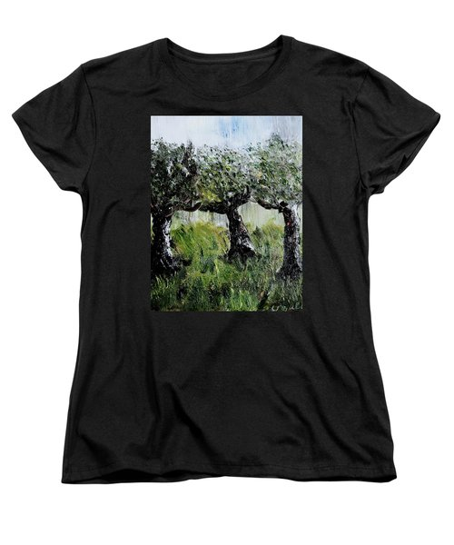 Women's T-Shirt (Standard Cut) featuring the painting Drizzle by Evelina Popilian