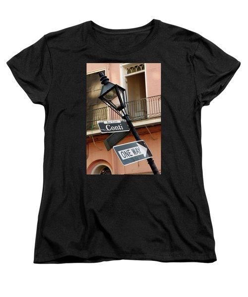 Women's T-Shirt (Standard Cut) featuring the photograph Drunk Street Sign French Quarter by KG Thienemann