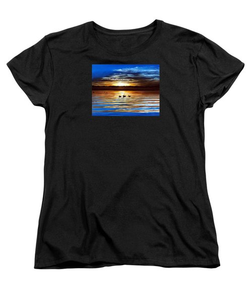 Ducks On Clear Lake Women's T-Shirt (Standard Cut) by Linda Becker