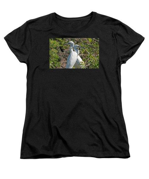 Dueling Egrets Women's T-Shirt (Standard Cut) by Kenneth Albin