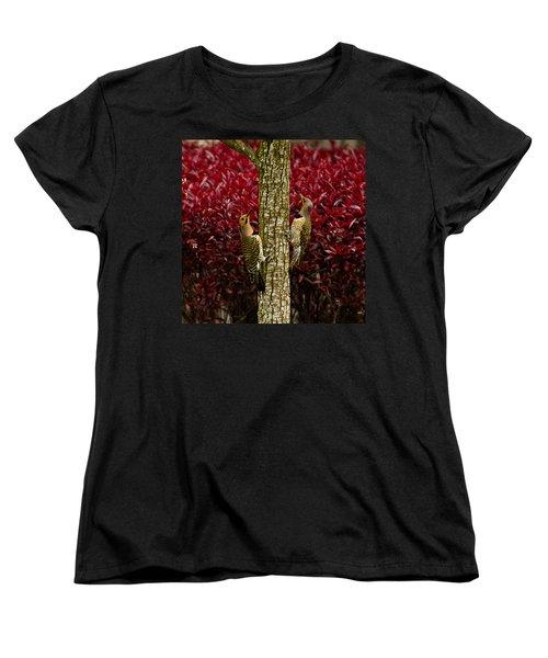 Dueling Woodpeckers Women's T-Shirt (Standard Cut) by LeeAnn McLaneGoetz McLaneGoetzStudioLLCcom