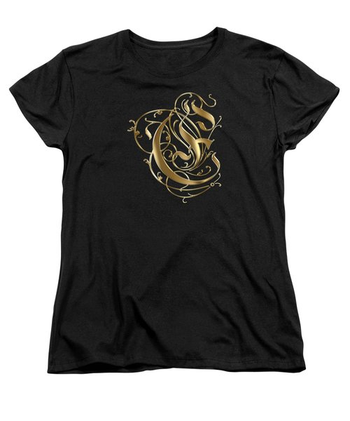 E Golden Ornamental Letter Typography Women's T-Shirt (Standard Cut) by Georgeta Blanaru