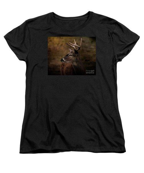 Women's T-Shirt (Standard Cut) featuring the photograph Early Buck by Robert Frederick