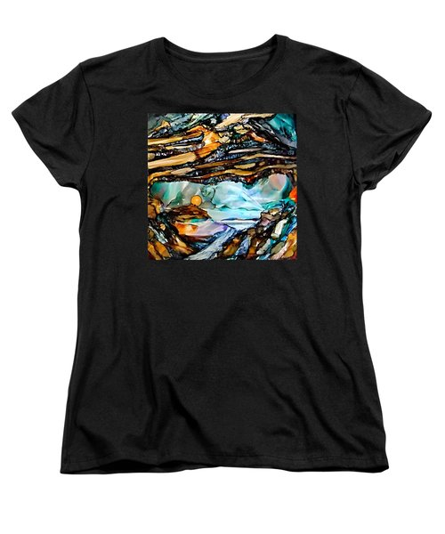 Earth Day Underground Paradise Alcohol Inks Women's T-Shirt (Standard Cut) by Danielle  Parent
