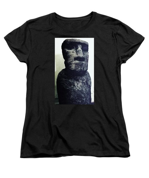 Women's T-Shirt (Standard Cut) featuring the painting Easter Island Stone Statue by Eric  Schiabor