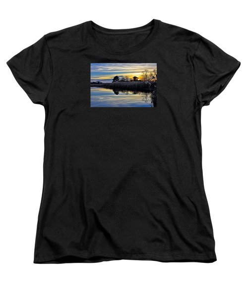 Eastern Shore Sunset - Blackwater National Wildlife Refuge - Maryland Women's T-Shirt (Standard Cut) by Brendan Reals